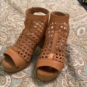 Sbicca Natural basket weave open toe booties